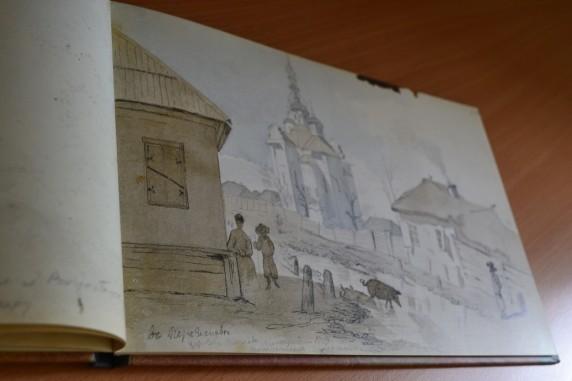 В Переяславі. Церква Покрови (акварель, туш, перо, олівець, 10-20 серпня 1845 р.)