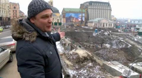 Тараненко.  На площі тривають розкопки. Скриншоти з відео ВВС